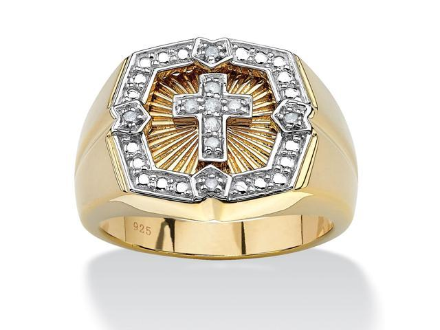 PalmBeach Jewelry Men's .10 TCW Round Diamond 18k Gold over Sterling Silver Cross Ring