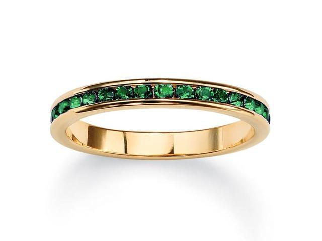 PalmBeach Jewelry Birthstone Stackable Eternity Band in 14k Gold-Plated - May- Simulated Emerald