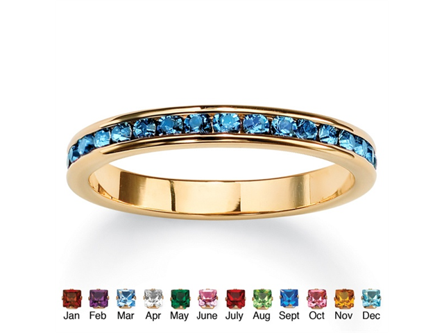 Birthstone Stackable Eternity Band in 14k Gold-Plated - March- Simulated Aquamarine