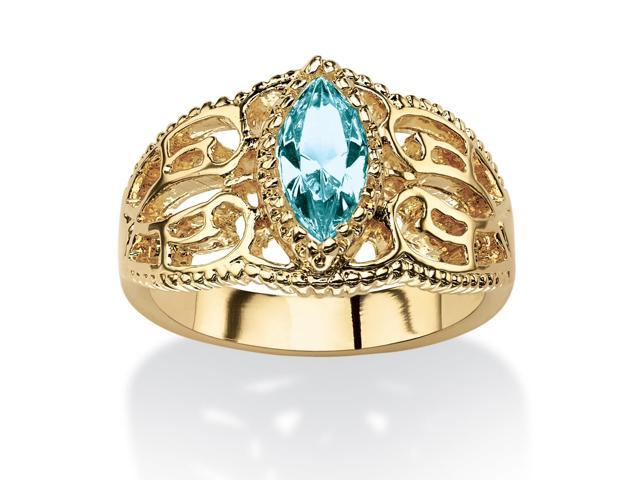 Marquise-Cut Birthstone Filigree Ring in 14k Gold-Plated Finish - December- Simulated Blue Topaz