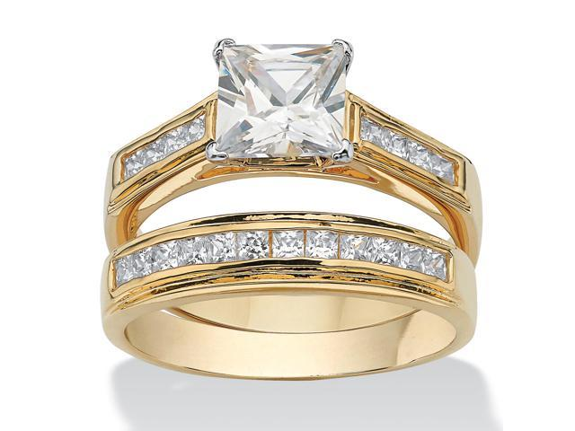 2.92 TCW Princess-Cut Cubic Zirconia 14k Yellow Gold-Plated Bridal Engagement Ring Wedding Band Set-5053212