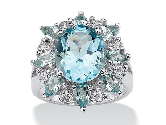 PalmBeach Jewelry 8.60 TCW Oval-Cut Genuine Blue and White Topaz Ring in .925 Sterling Silver