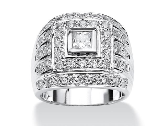 PalmBeach Jewelry Men's 2.89 TCW Square-Cut Cubic Zirconia Ring in .925 Sterling Silver