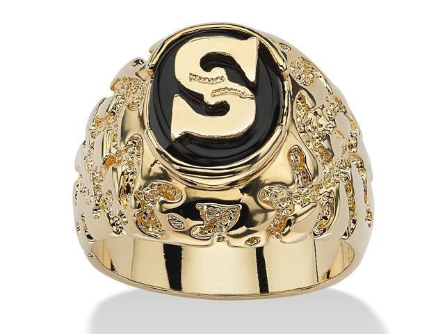 Men's Oval-Shaped Genuine Onyx Nugget-Style Personalized Initial Ring 14k Gold-Plated - Initial:X