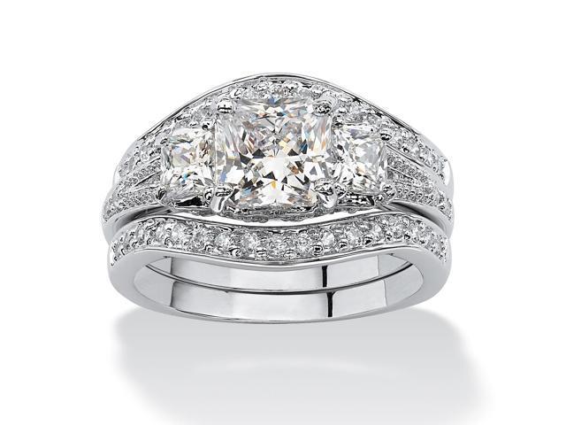 2.89 TCW Princess-Cut Cubic Zirconia Platinum-Plated Bridal Engagement Wedding Band Set