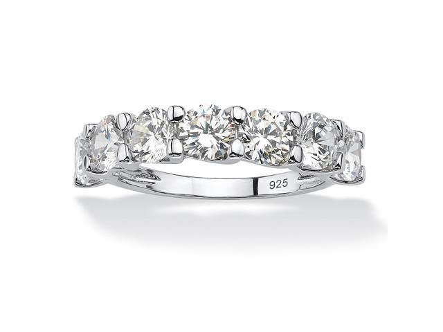 PalmBeach Jewelry 3.50 TCW Round Cubic Zirconia Wedding Band in Platinum Over .925 Sterling Silver