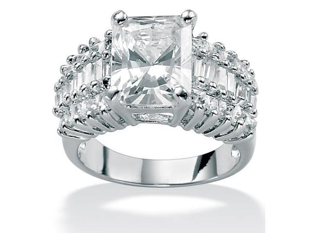 5.54 TCW Emerald-Cut Cubic Zirconia Triple-Row Ring in Platinum over Sterling Silver
