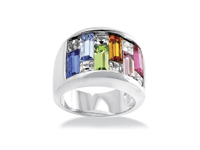 PalmBeach Jewelry Princess and Baguette-Cut Multicolor Crystal Channel Ring in Silvertone