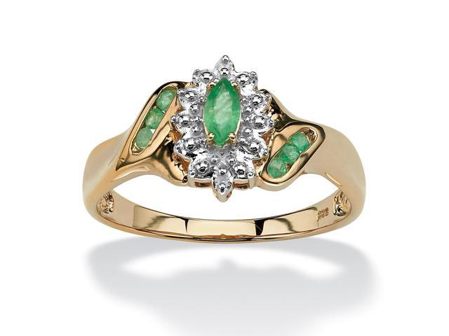.37 TCW Marquise-Cut and Round Genuine Emerald Diamond Accent 18k Gold over Sterling Silver Ring
