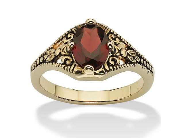 PalmBeach Jewelry 1.40 TCW Oval-Cut Genuine Garnet Vintage-Style Ring 14k Yellow Gold-Plated