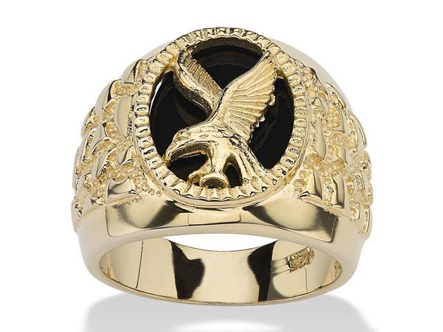 Men's Oval-Shaped Genuine Onyx 18k Gold over Sterling Silver Nugget-Style Eagle Ring-464899