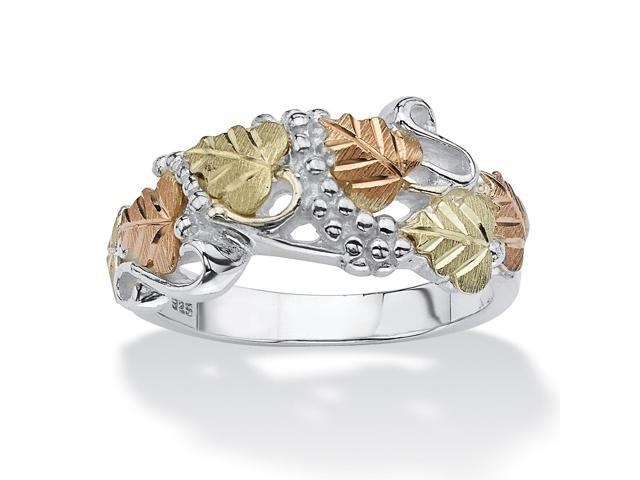 PalmBeach Jewelry Openwork Multi-Leaf Ring in 12k Black Hills Gold and Sterling Silver