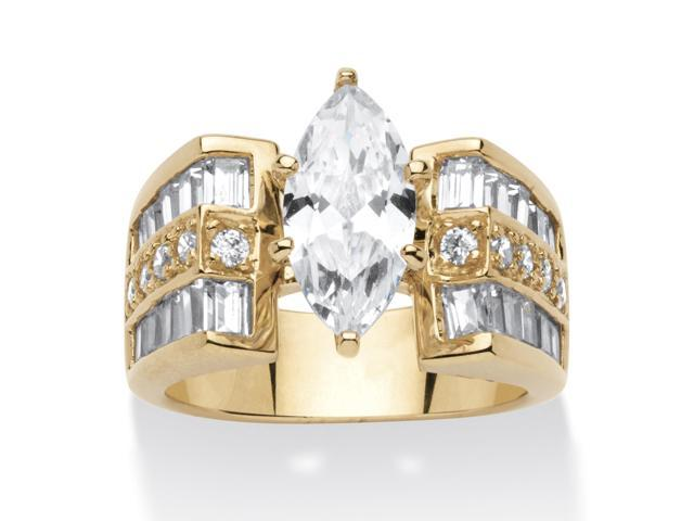 PalmBeach Jewelry 4 TCW Marquise-Cut Cubic Zirconia 14k Gold over Sterling Silver Ring