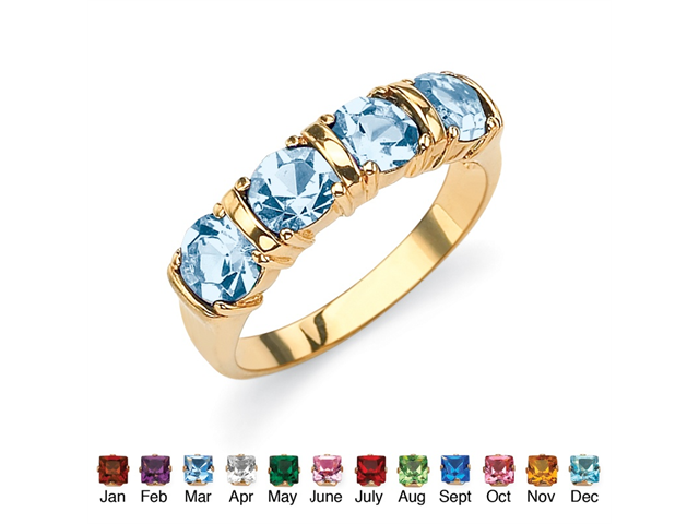 PalmBeach Jewelry Round Birthstone 18k Gold-Plated Bar-Set Ring - March- Simulated Aquamarine