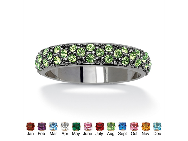 PalmBeach Jewelry Round Birthstone Black Rhodium-Plated Eternity Band - August- Simulated Peridot