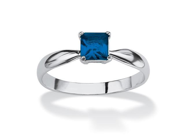 Princess-Cut Birthstone Sterling Silver Solo or Stack Ring - September- Simulated Sapphire
