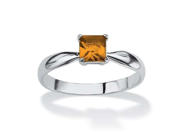 Princess-Cut Birthstone Sterling Silver Solo or Stack Ring - November- Simulated Citrine