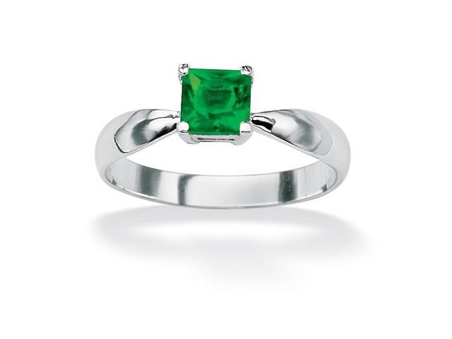 Princess-Cut Birthstone Sterling Silver Solo or Stack Ring - May- Simulated Emerald