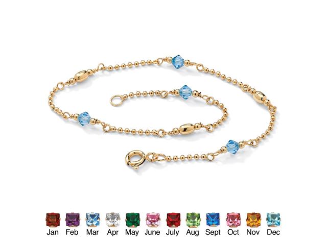 Birthstone Beaded Ankle Bracelet in 14k Gold over .925 Sterling Silver - March- Simulated Aquamarine