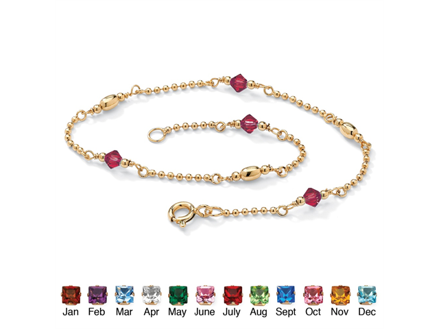 Birthstone Beaded Ankle Bracelet in 14k Gold over .925 Sterling Silver - January- Simulated Garnet