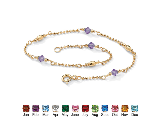 Birthstone Beaded Ankle Bracelet in 14k Gold over .925 Sterling Silver - February- Simulated Amethyst
