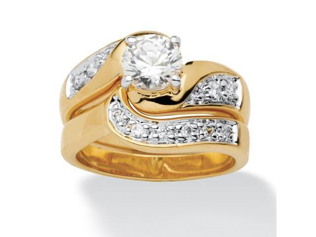 PalmBeach Jewelry 1.47 TCW Round Cubic Zirconia 14k Gold-Plated 2-Piece Swirled Bridal Ring Set