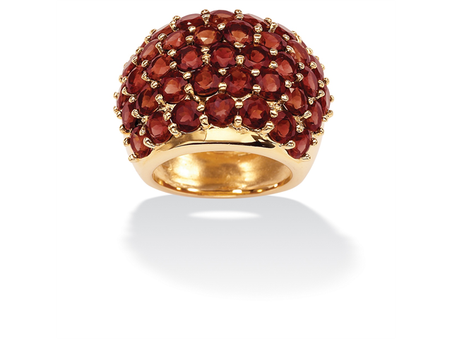 PalmBeach Jewelry 11.70 TCW Round Genuine Garnet 14k Yellow Gold-Plated Dome Ring
