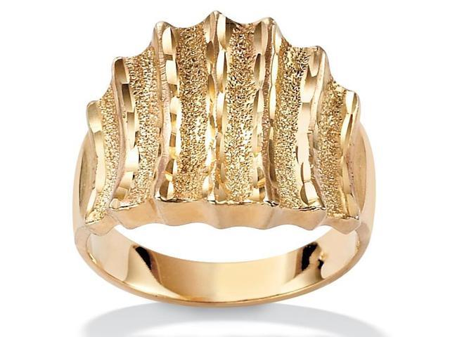PalmBeach Jewelry 14k Yellow Gold-Plated Textured Concave Ring