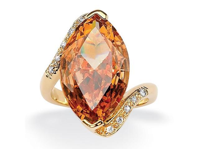 PalmBeach Jewelry 8.04 TCW Marquise-Cut Champagne-Color Cubic Zirconia Cocktail Ring 18k Gold-Plated