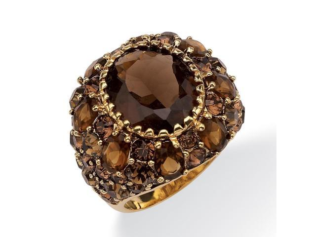 13.36 TCW Oval-Cut Genuine Smoky Quartz Smoky-Quartz-Color Crystal 14k Yellow Gold-Plated Ring