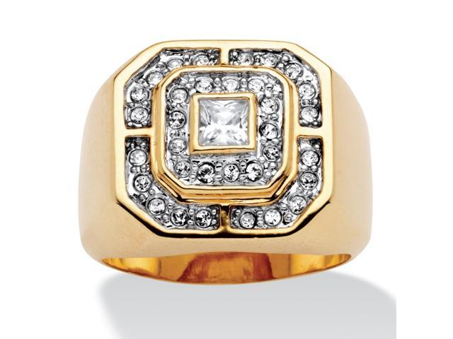 PalmBeach Jewelry Men's .87 TCW Square and Round Cubic Zirconia 14k Gold-Plated Octagon-Shaped Ring