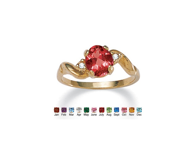 PalmBeach Jewelry Oval-Cut Birthstone Twist Ring in 14k Gold-Plated - July- Simulated Ruby