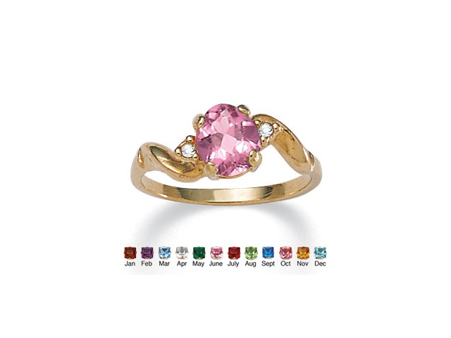 PalmBeach Jewelry Oval-Cut Birthstone Twist Ring in 14k Gold-Plated - June- Simulated Alexandrite