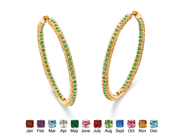 Birthstone 14k Yellow Gold-Plated Inside-Out Hoop Earrings - May- Simulated Emerald