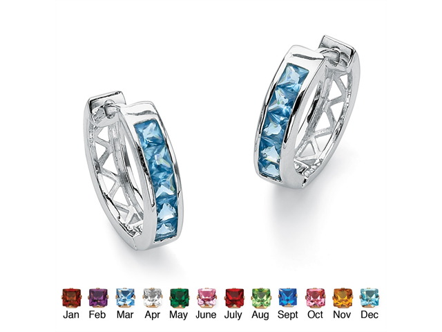 Princess-Cut Channel-Set Birthstone Sterling Silver Hoop Earrings (24mm) - March- Simulated Aquamarine