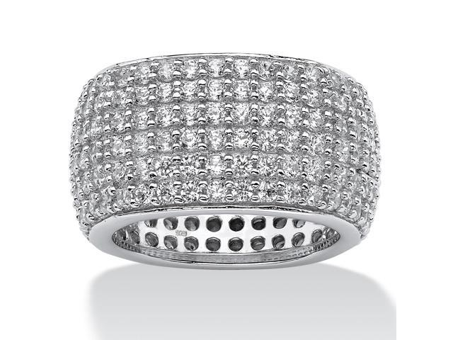 PalmBeach Jewelry 3.00 TCW Pave Cubic Zirconia Multi-Row Eternity Band in Sterling Silver