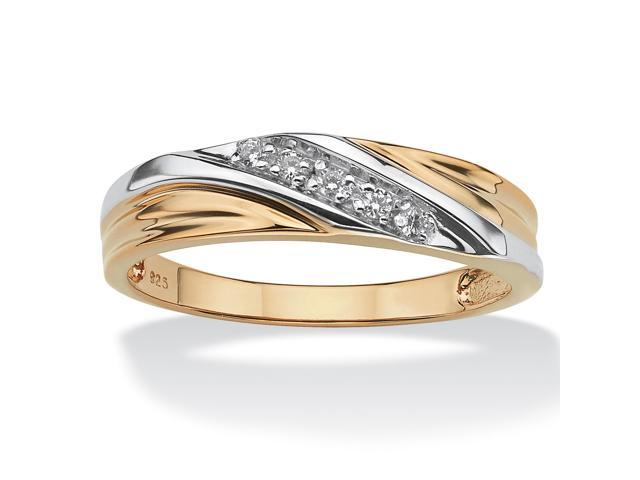 PalmBeach Jewelry Men's Round 18k Gold over Sterling Silver Cubic Zirconia Accent Wedding Band Ring