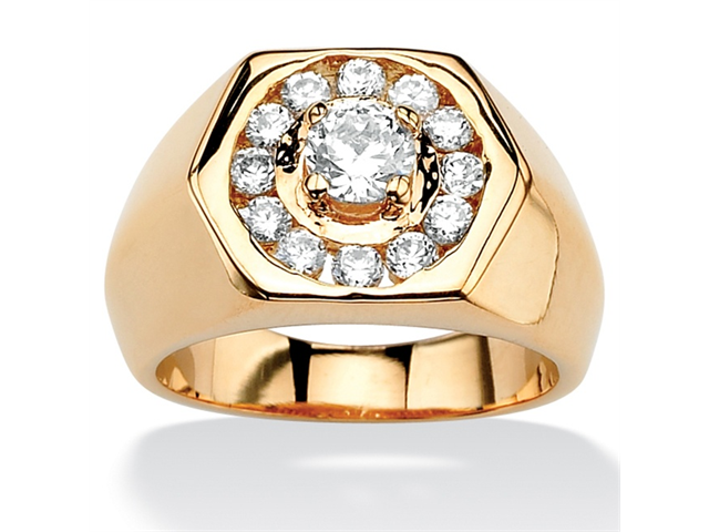 PalmBeach Jewelry Men's .97 TCW Round Cubic Zirconia 14k Yellow Gold-Plated Hexagon-Shaped Ring