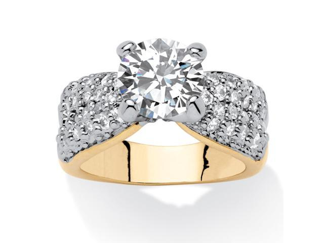 PalmBeach Jewelry 2.62 TCW Round Cubic Zirconia 14k Yellow Gold-Plated Engagement Anniversary Ring