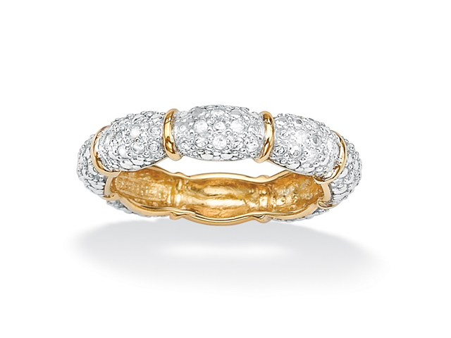 PalmBeach Jewelry Pave Diamond Accent Stackable Eternity Band in 18k Gold over Sterling Silver
