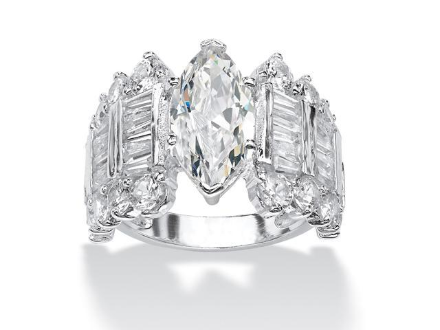 6.54 TCW Marquise-Cut and Baguette Cubic Zirconia Engagement Anniversary Ring in Silvertone