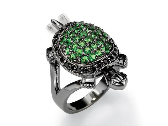 PalmBeach Jewelry .52 TCW Black Cubic Zirconia and Green Crystal Black Rhodium-Plated Turtle Ring