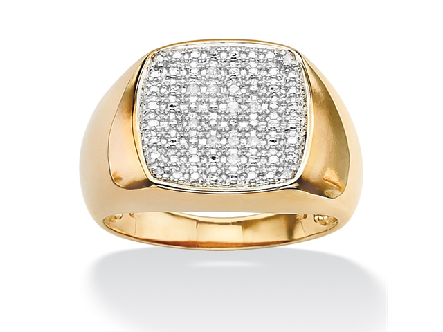 PalmBeach Jewelry Men's 1/10 TCW Diamond 18k Gold over Sterling Silver Cluster Ring