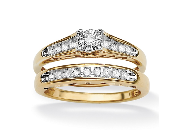 1/5 TCW Round Diamond Channel-Set Two-Piece Bridal Set in 18k Gold over .925 Sterling Silver-4963510