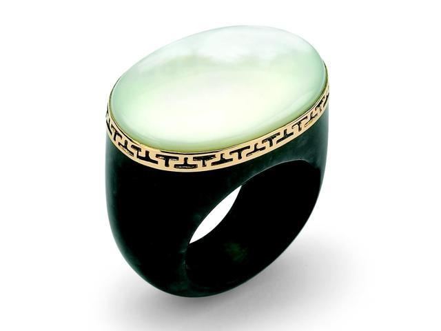 PalmBeach Jewelry Oval-Shaped Mother-Of-Pearl Black Jade Greek Key Ring in 14k Gold