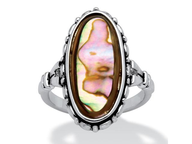 PalmBeach Jewelry Genuine Oval-Shaped Abalone Ring in Antiqued Silvertone