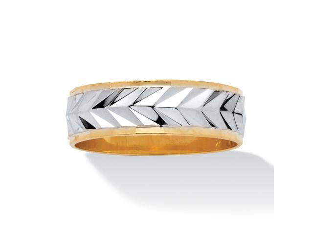 PalmBeach Jewelry Men's Two-Tone Diamond-Cut Wedding Band 14k Gold-Plated