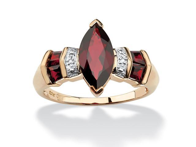 PalmBeach Jewelry 2.84 TCW Marquise-Cut Garnet and Diamond Accent Ring in 10k Gold