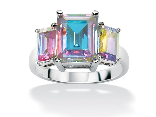 5.60 TCW Emerald-Cut Aurora Borealis Cubic Zirconia Cocktail Ring in Sterling Silver