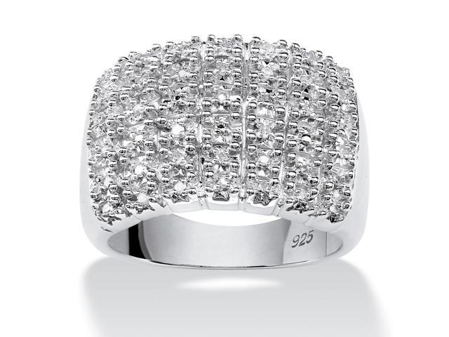 PalmBeach Jewelry 1/5 TCW Round Diamond Row Ring in Platinum over Sterling Silver